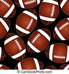 Football on black seamless pattern