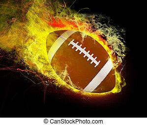 Football on Fire - Football blazes through the air on fire.