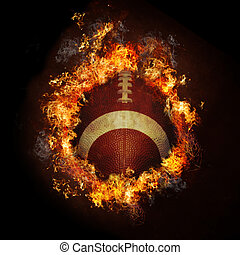 Football on in hot flames fire with black background