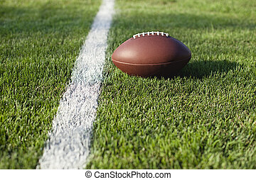 Football on grass field at goal or yard line - Low angle...