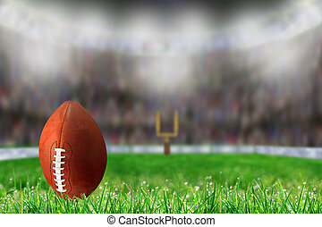 Football on Grass Ready For Field Goal or Kick Off
