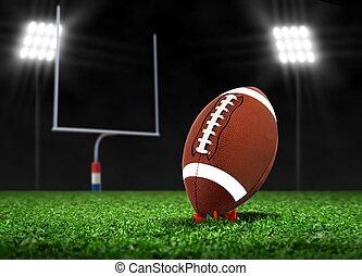 Football on Grass under Spotlights