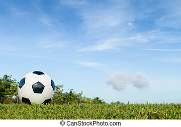football on grass with cloud and sky background