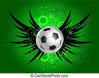 Football on grunge wings