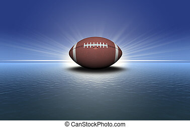 football on the green grass with sunset background