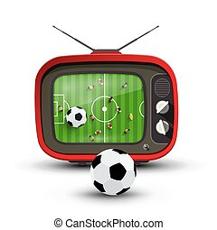 Football on Tv - Vector Soccer Game with Ball on Television