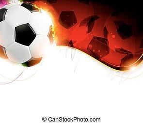 football, ondulé, balle, arrière-plan rouge