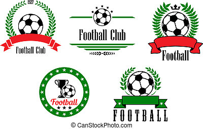 Football or soccer emblems and badges set