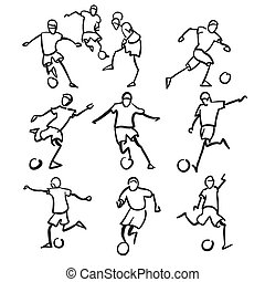 Football or Soccer Player Motion Sketch Studies