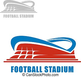 Football or soccer stadium building icon with red carcass ...