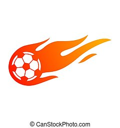 Football or soccer with fire flame symbol.