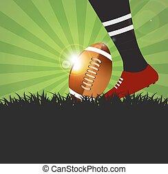 football, ou, joueur rugby, à, balle, sur, herbe, fond