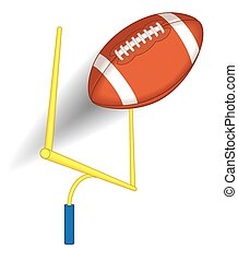 football over the goal post in perspective on white...