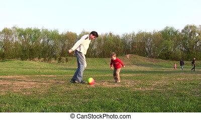 football, père, enfant