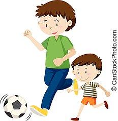 football, père, jouer, fils