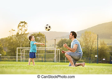 football, padre, gioco, figlio