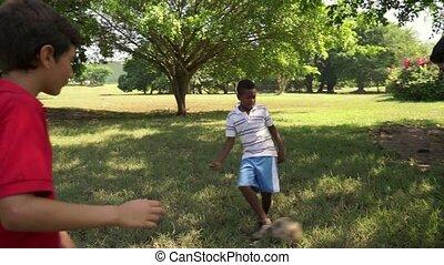 football, parc, football jouant, gosses