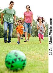 football, parc, jouer, famille
