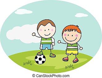 football, parc, jouer, gosses