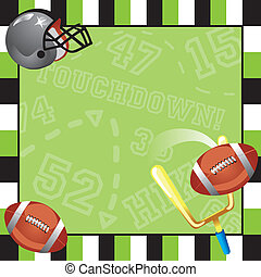 Football Party Invitation card with decorative frame