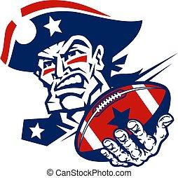 football, patrioti, mascotte