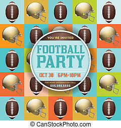 Football Pattern Party Invitation - A flyer design perfect...