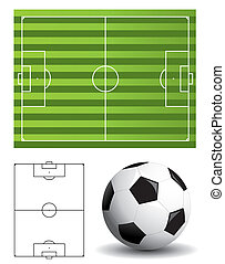 Football pitch and ball - Football pitch with ball and...