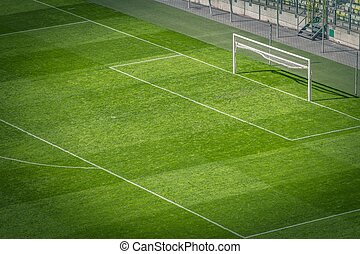Football Pitch Closeup - Empty Football Pitch and the Goal...