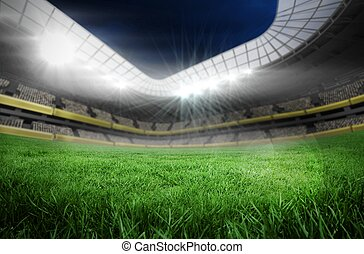 Digitally generated football pitch in large stadium