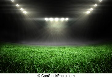 Football pitch with bright lights - Digitally generated ...
