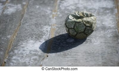 football, plancher, vieux, ciment, balle
