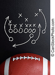 Football Play Strategy Drawn Out On A Chalk Board With Rugby...