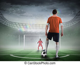 Football player about to take a penalty - Composite image of...