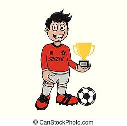 Football Player Got A Trophy vector