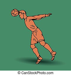 Football player hitting the ball with his head, silhouette, drawing on a green background,