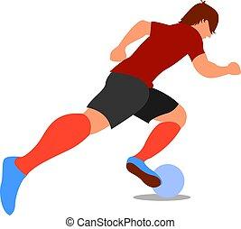 Football player, illustration, vector on white background.