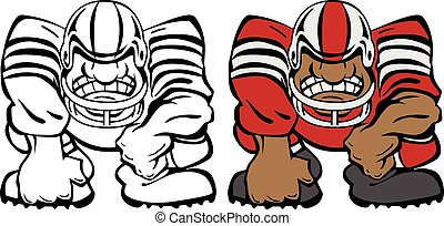 Tough football player cartoon logo vector illustration, with an aggressive expression in a three point stance, in black line drawing and color sample version.