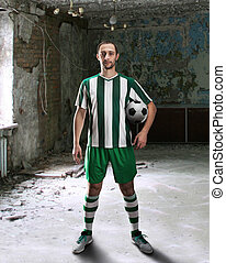 Football-player in a dirty room