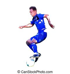 Football player in blue jersey running with ball, abstract low poly vector drawing. Soccer player. Isolated geometric colorful illustration, side view