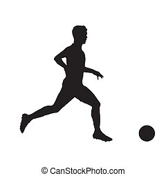 Football player isolated vector silhouette. Side view. Soccer, team sport