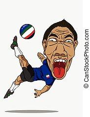 football, player., italie