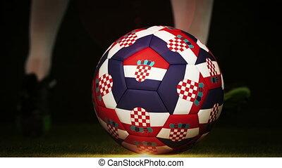 Football player kicking croatia fla