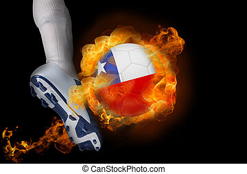 Football player kicking flaming chile ball