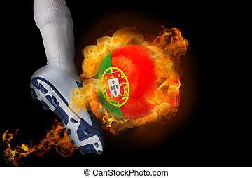 Football player kicking flaming portugal ball