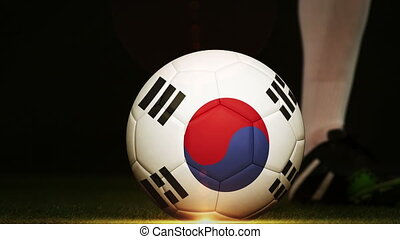 Football player kicking Korea Republic flag ball - Football...