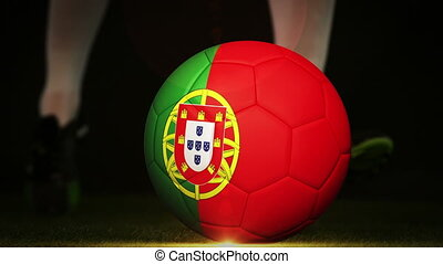 Football player kicking portugal fl