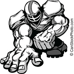 Football Player Lineman Cartoon - Cartoon Silhouette of a...