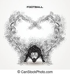 football player of a silhouette from particle. background...
