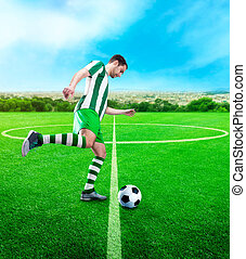 Football-player on the football ground