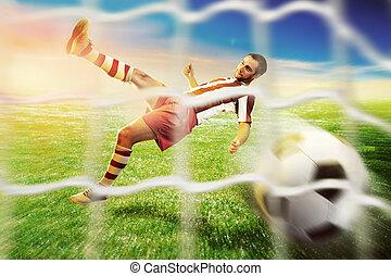 Football-player on the  football ground
